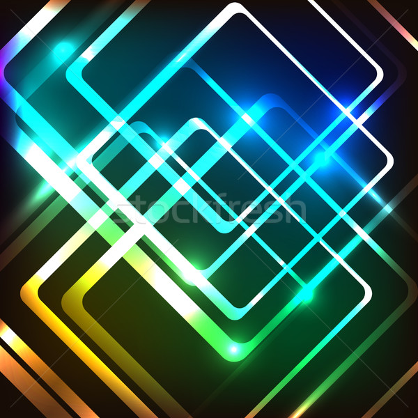 Abstract colorful background with glowing rounded rectangles Stock photo © punsayaporn