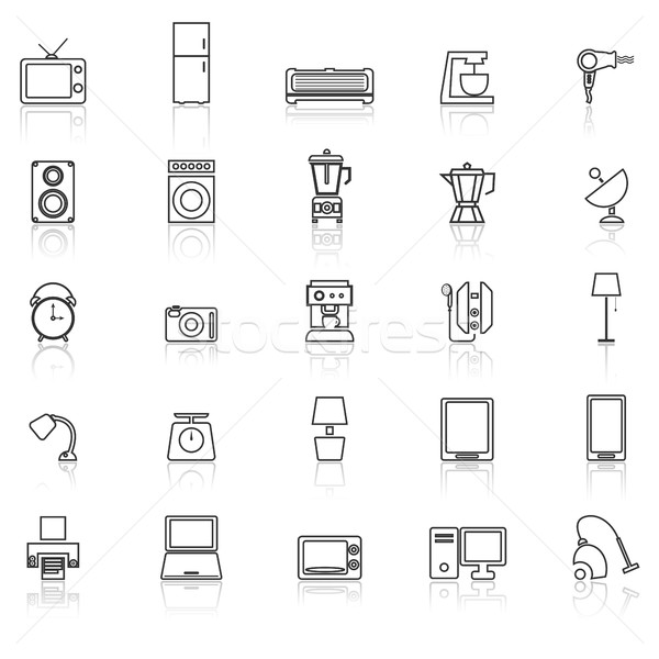 Household line icons with reflect on white background Stock photo © punsayaporn