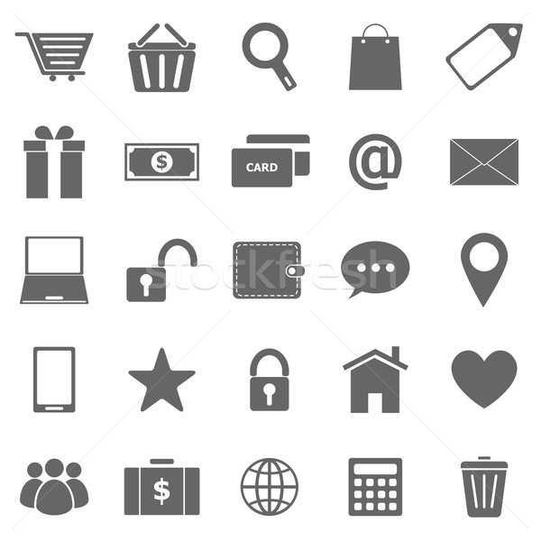 Ecommerce icons on white background Stock photo © punsayaporn