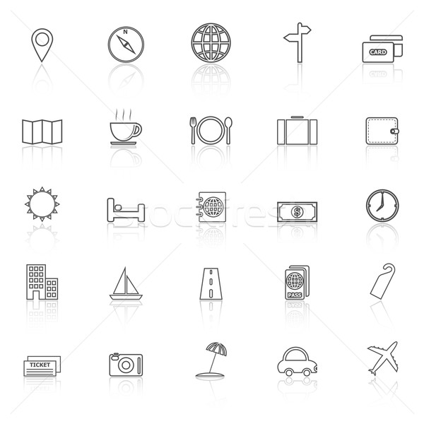 Travel line icons with reflect on white background Stock photo © punsayaporn