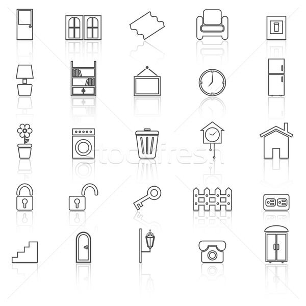 House related line icons with reflect on white background Stock photo © punsayaporn