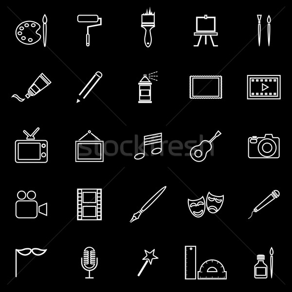 Art line icons on black background Stock photo © punsayaporn