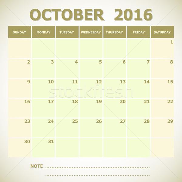 Calendar October 2016 week starts Sunday Stock photo © punsayaporn