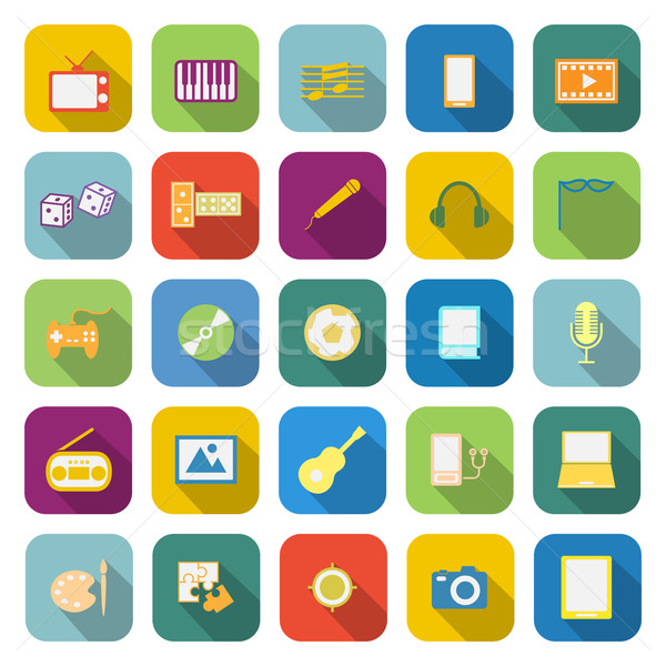 Entertainment color icons with long shadow Stock photo © punsayaporn