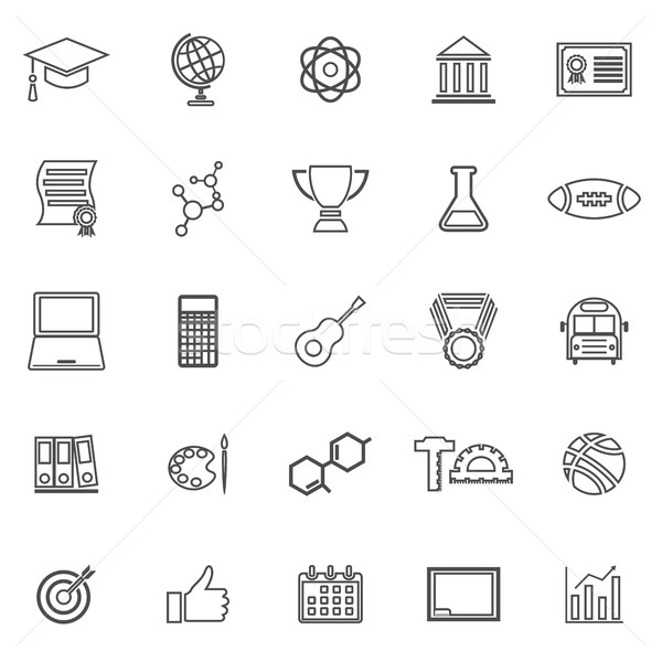College line icons on white background Stock photo © punsayaporn