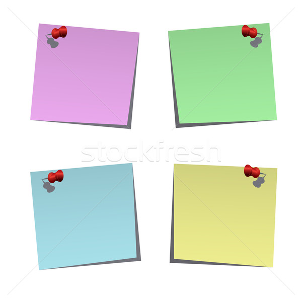 Set of blank post-it notes with push pins Stock photo © punsayaporn