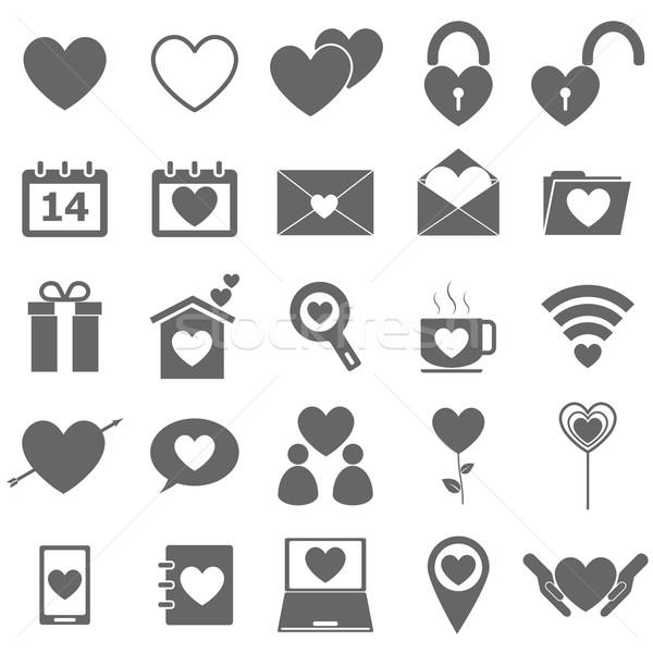 Love icons on white background Stock photo © punsayaporn