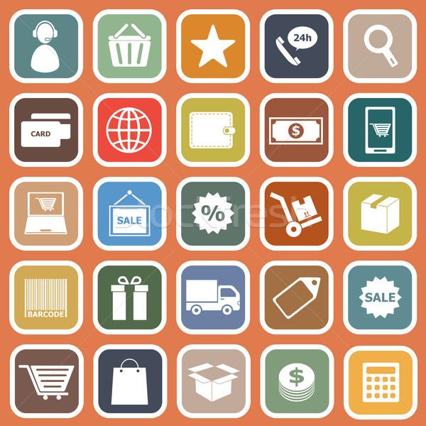 электронной коммерции иконки оранжевый складе вектора компьютер Сток-фото © punsayaporn
