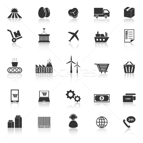 Supply chain icons with reflect on white background Stock photo © punsayaporn
