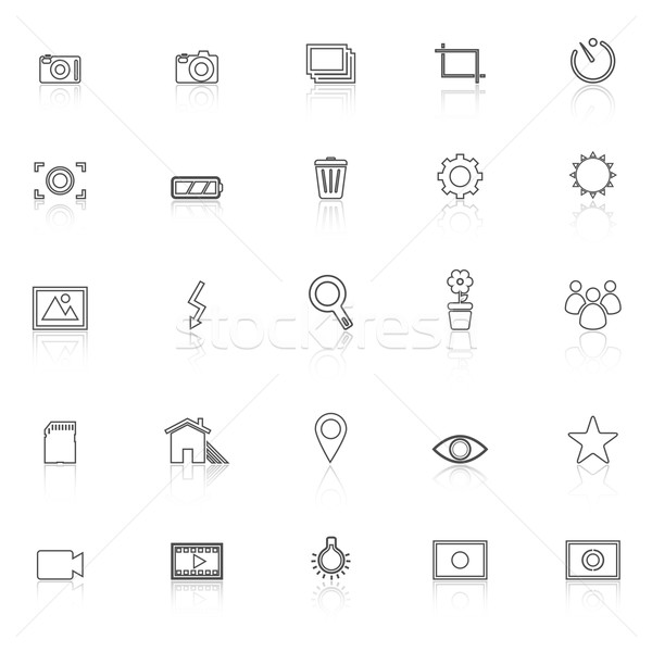 Photography line icons with reflect on white background Stock photo © punsayaporn