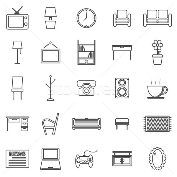 Living room line icons on white background Stock photo © punsayaporn
