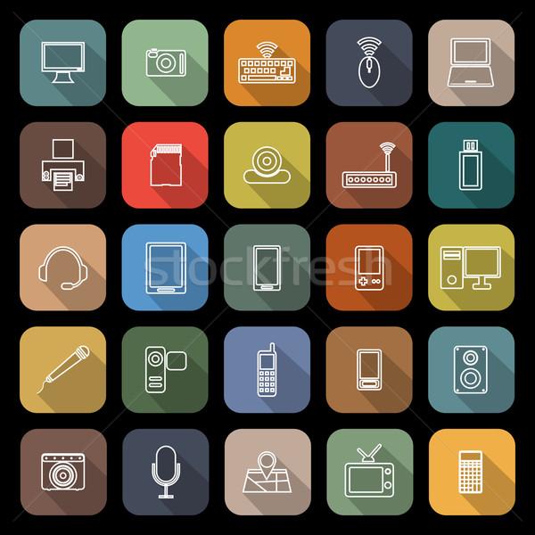 Gadget lijn iconen lang schaduw voorraad Stockfoto © punsayaporn