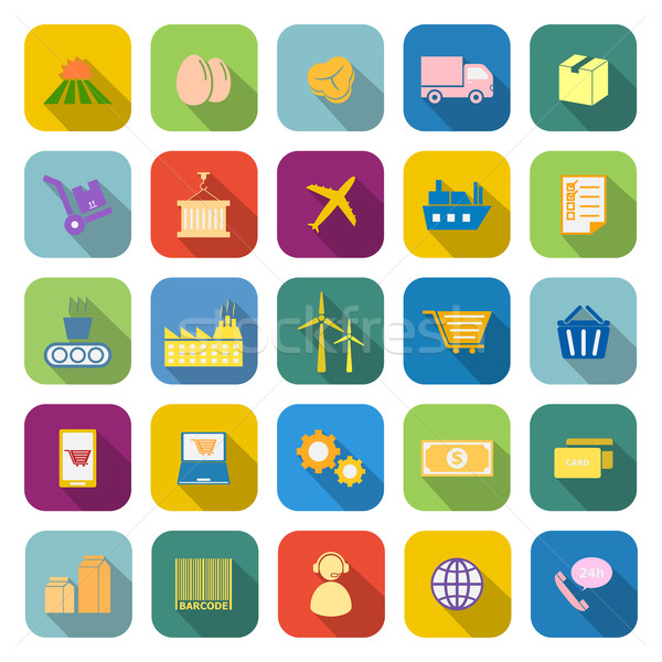 Supply chain color icons with long shadow Stock photo © punsayaporn