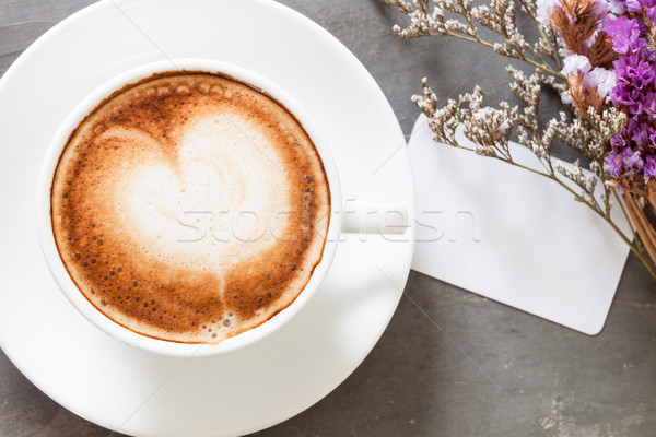 Coffee cup with name card on grey background Stock photo © punsayaporn