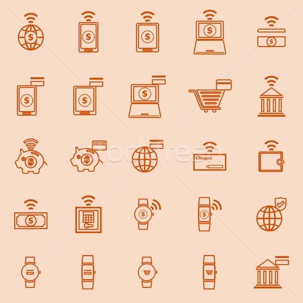 линия цвета иконки оранжевый складе вектора Сток-фото © punsayaporn