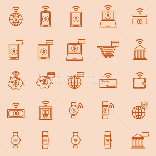 Fintech line color icons on orange background Stock photo © punsayaporn