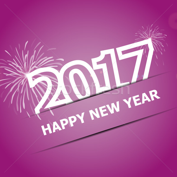 2017 Happy New Year on pink background Stock photo © punsayaporn