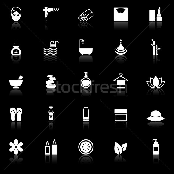 Beauty icons with reflect on black background Stock photo © punsayaporn