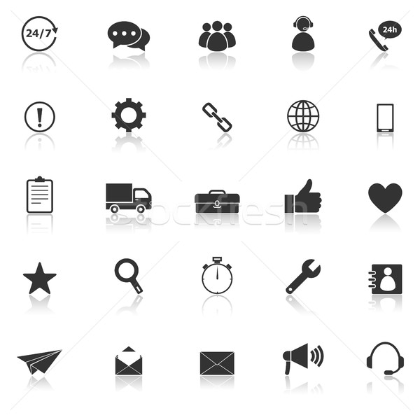 Customer service icons with reflect on white background Stock photo © punsayaporn
