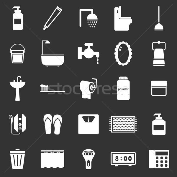 Bathroom icons on black background Stock photo © punsayaporn