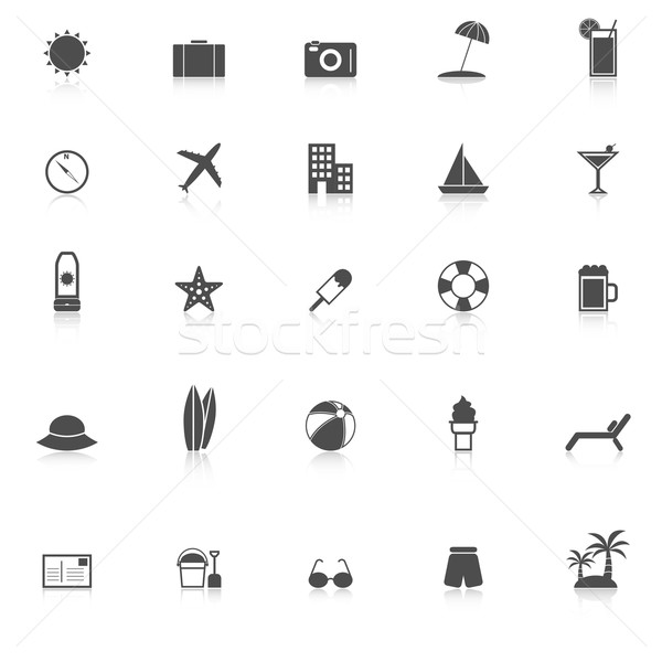 Summer icons with reflect on white background Stock photo © punsayaporn