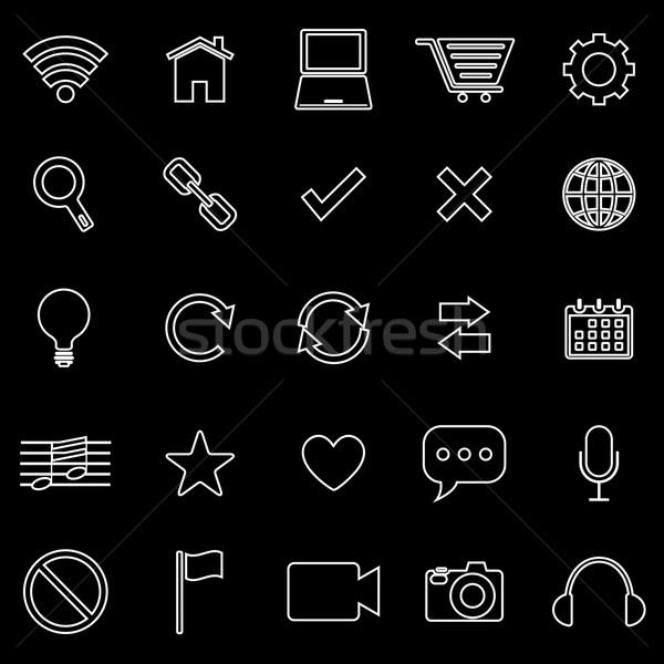 Web line icons on black background Stock photo © punsayaporn