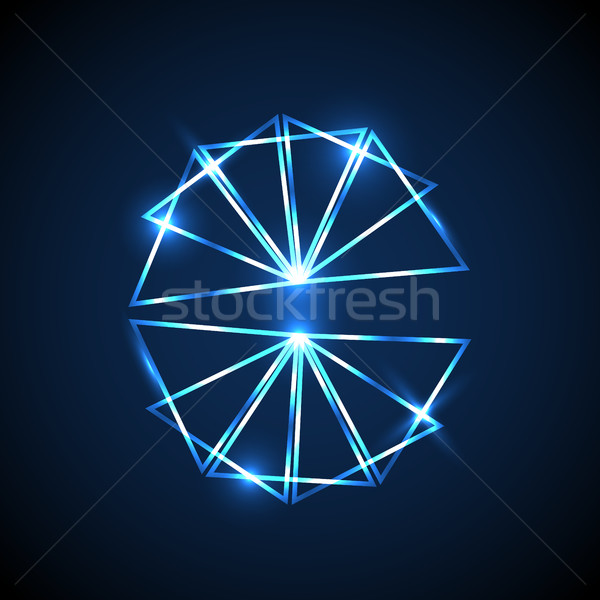 Abstract background with blue neon triangles Stock photo © punsayaporn