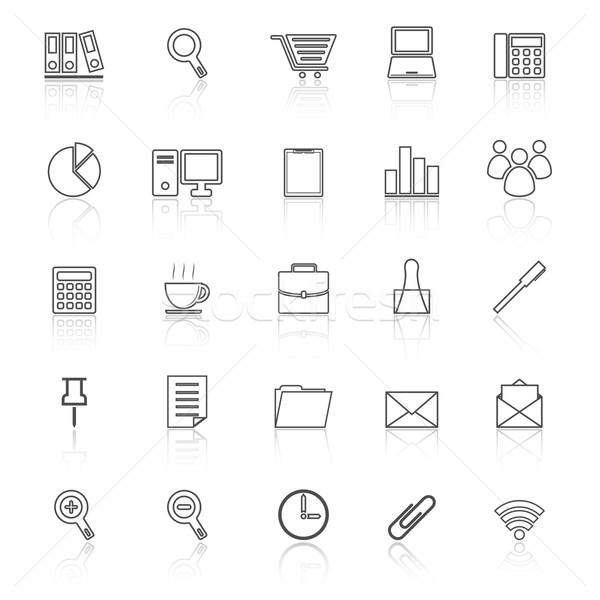 Office line icon reflect on white background Stock photo © punsayaporn