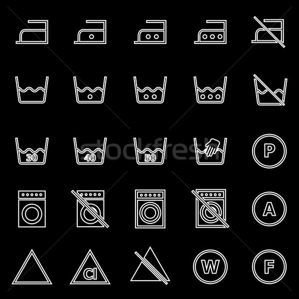 Laundry line icons on black background Stock photo © punsayaporn