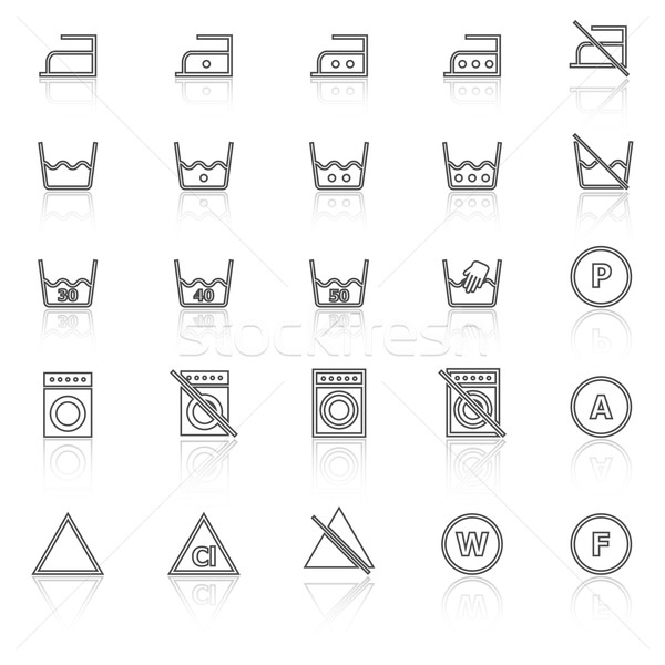 Laundry line icons with reflect on white background Stock photo © punsayaporn