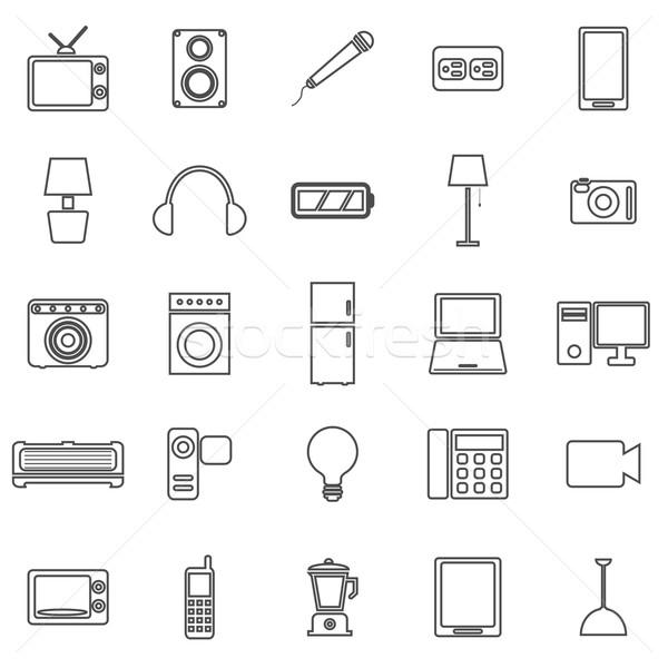 электрические машина линия иконки белый складе Сток-фото © punsayaporn