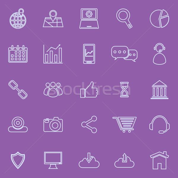 SEO line icons on violet background Stock photo © punsayaporn