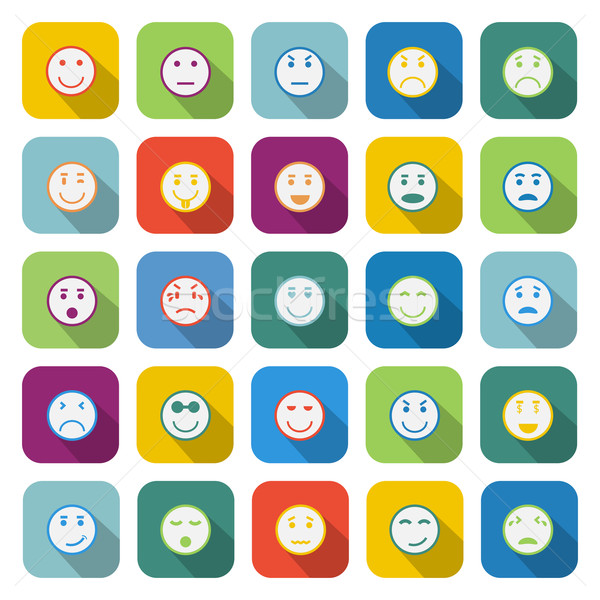 Circle face color icons with long shadow Stock photo © punsayaporn