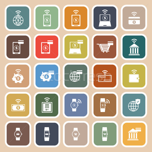 Fintech flat icons on brown background Stock photo © punsayaporn