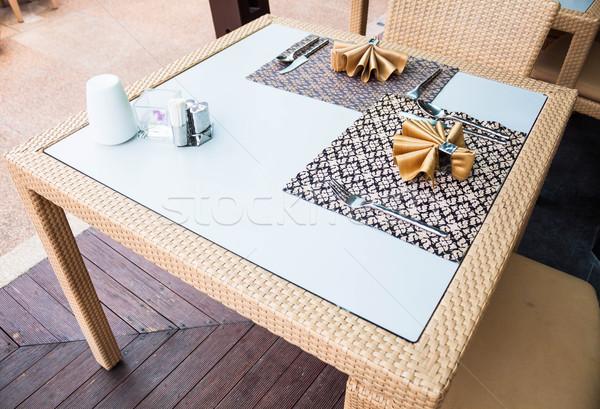 Ingesteld stijl eettafel houten vloer voedsel Stockfoto © punsayaporn
