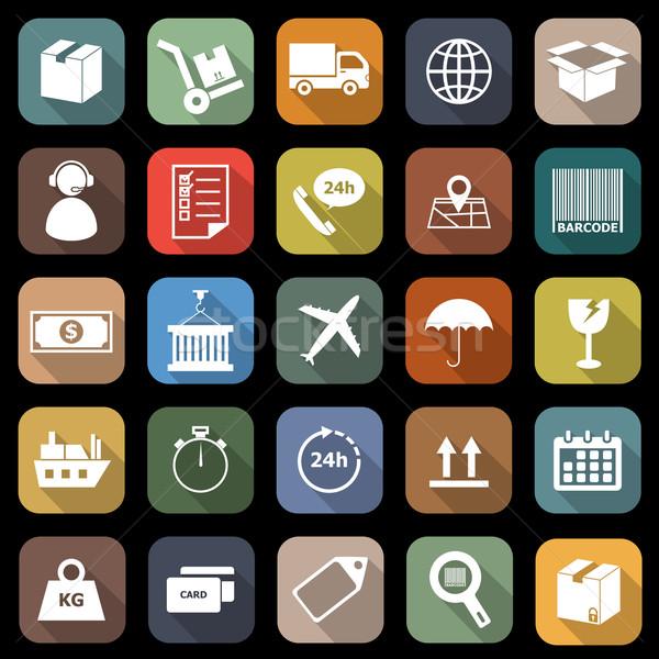 Logistique icônes longtemps ombre stock vecteur Photo stock © punsayaporn