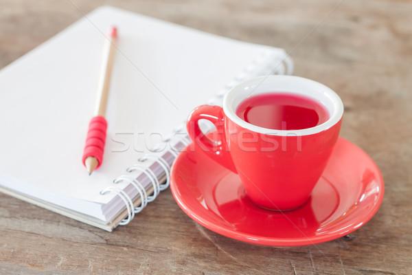 ストックフォト: 赤 · マグ · オープン · ノートブック · 在庫 · 写真