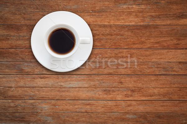 Beyaz kahve fincanı ahşap masa stok fotoğraf Stok fotoğraf © punsayaporn