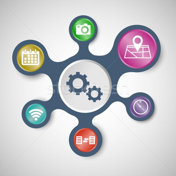 アプリケーション インフォグラフィック テンプレート 在庫 ベクトル 電話 ストックフォト © punsayaporn