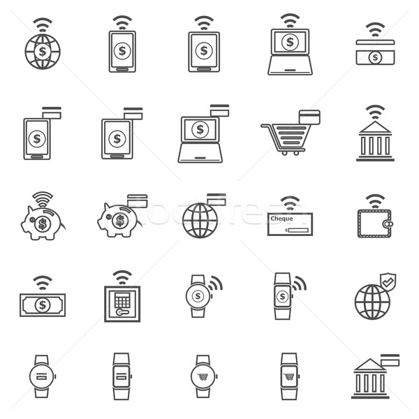 Fintech line icons on white background Stock photo © punsayaporn