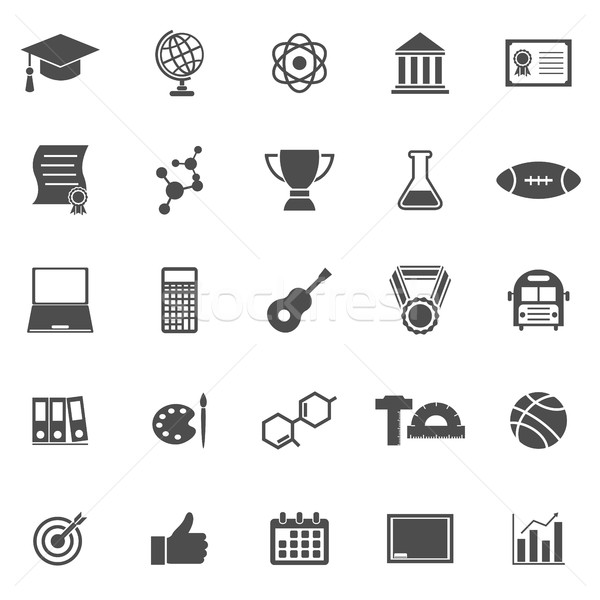 College icons on white background Stock photo © punsayaporn