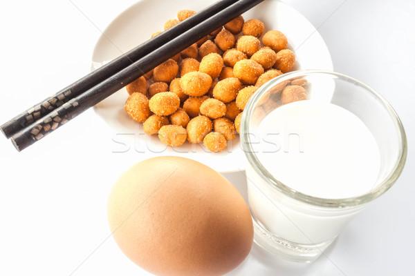 Könnyű fehérje étel földimogyoró tej tojás Stock fotó © punsayaporn
