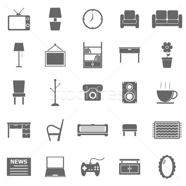 Living room icons on white background Stock photo © punsayaporn