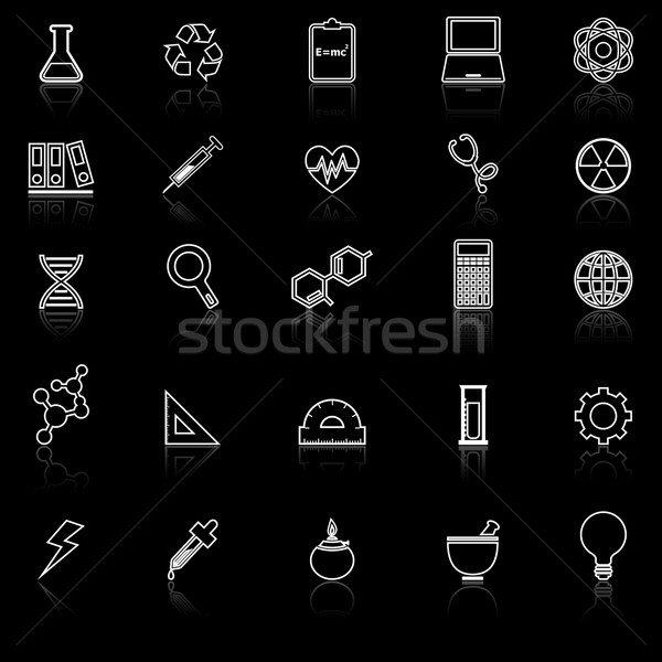 Science line icons with reflect on black background Stock photo © punsayaporn