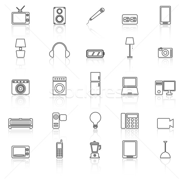 Electrical machine line icons with reflect Stock photo © punsayaporn