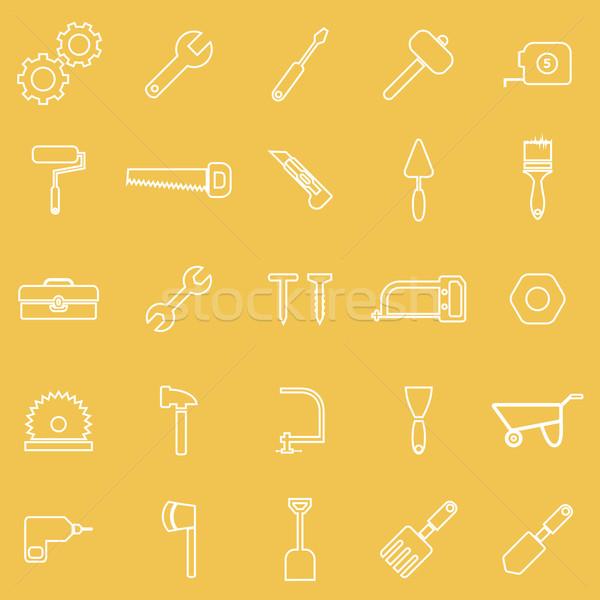 Tool line icons on yellow background Stock photo © punsayaporn