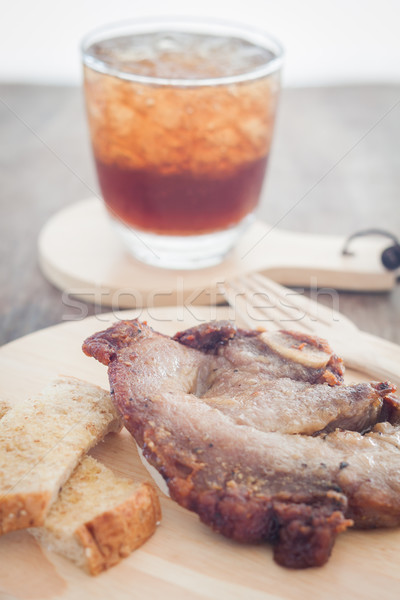 Stock fotó: Disznóhús · steak · fából · készült · tányér · stock · fotó