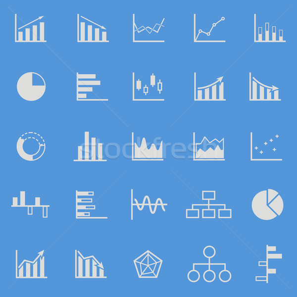 Graph color icons on blue background Stock photo © punsayaporn