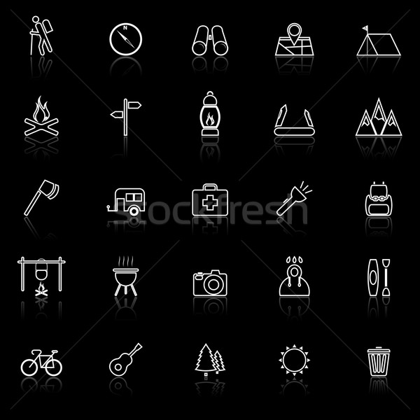Trekking line icons with reflect on black background Stock photo © punsayaporn
