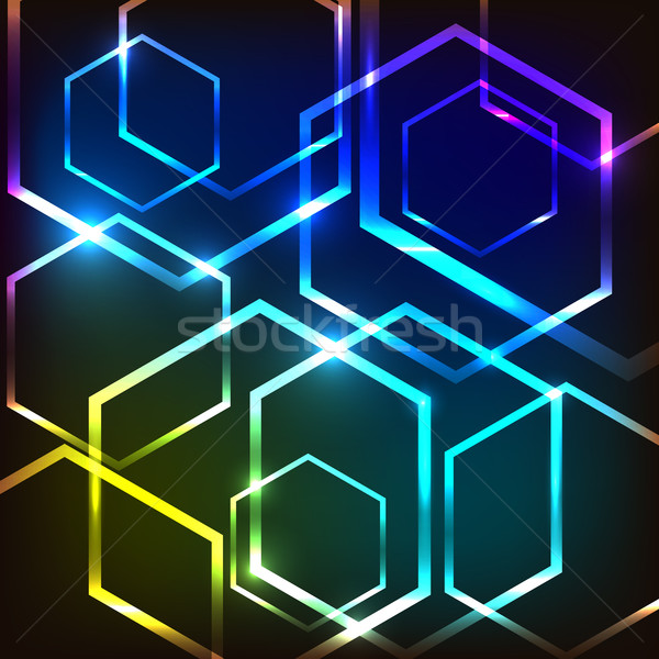Abstract colorful glowing background with hexagons Stock photo © punsayaporn